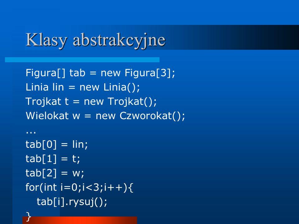 Klasy abstrakcyjne Figura[] tab = new Figura[3];
